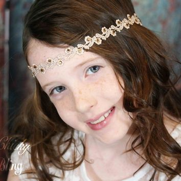 Tween Golden Taupe Lace Hippie Style Headband