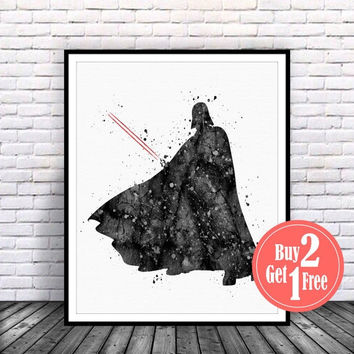 ON SALE: Darth Vader Star Wars Print, star wars art, darth vader poster, darth vader print, darth vader art, star wars poster, Watercolor Ar