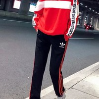 """""""Adidas"""" Women's Leisure  Fashion Letter Printing Spell Color Long Sleeve Trousers Two-Piece Casual Wear"""