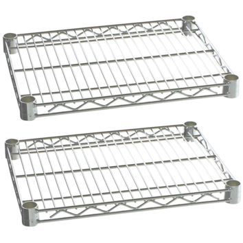 "Commercial Kitchen Heavy Duty Chrome Wire Shelves 21"" x 30"" with Clips (Box of 2)"