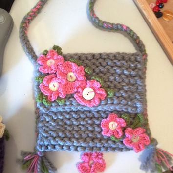 Orginal & Hand-Made Knitted Wild Mallow Shoulder Bag - Sahbby, Cottage Chic, Hipster, Festival, Medicine Bag, Boho, Hippy. Eco.
