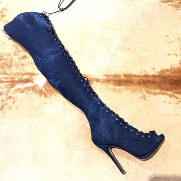 Liliana Washed Denim Lace Up Knee Boots