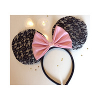 Black Lace Ears - pick your bow color
