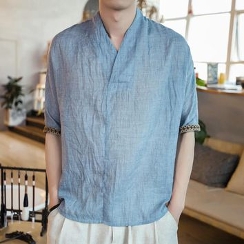 Chinese Style 2018 Summer Cotton Linen T shirt Men Casual Thin Breathable Vintage Floral Print V-neck T-shirt Plus Size Clothing