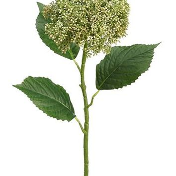 "Artificial Hydrangea Berry Cluster in Cream Green - 28"" Tall"