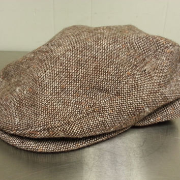 True Vintage Union Made Newsboy Cabbie Hat Tweed Style Brown Wool Size Large 7 1/4 - 7 3/8 Made in USA Drivers Cap Hipster