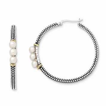 Antique Style Sterling Silver 4.5mm Button Fresh Water Cultured Pearl Hoop Earrings