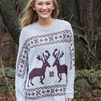 Reindeer and Snowflake Sweater - Burgundy