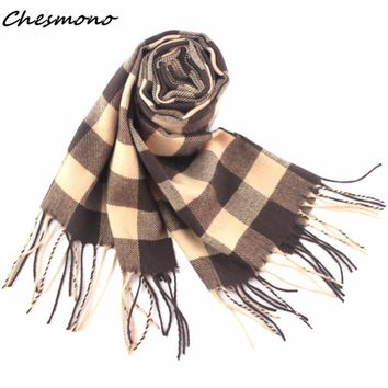 2017 male female winter scarf plaid big grid checkered men women cashmere scarfs thick thermal wool scarves muffler cape shawl