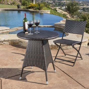 Lebeau Outdoor Contemporary Multi Brown Polyethylene Round Bistro Table