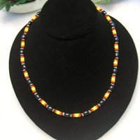 eBlueJay: Beaded Bead And Wood Bead Unisex Necklace In Black And Fire Colors