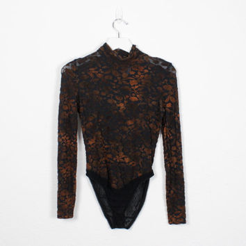 Vintage 90s Bodysuit Black Brown Orange SHEER Burn Out Velvet Bodysuit Shirt Long Sleeve Burnout Velvet Leotard Soft Grunge Top XS S Small M