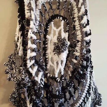 Crochet Circular Vest. Lotus Mandala Circular Vest. Size fits average large. Made By Bead G's On ETSY. Long Bohemian Vest