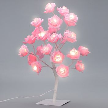 Furnizone Table Lamp Rose Tree Lamp with AC Adapter Flexible Pink Flower Wedding Holiday Home Indoor Decoration 24 Warm White LEDs