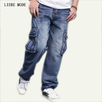 Big Size Mens Denim Cargo Pants Jeans Men Hip Hop Loose Baggy Jeans With Side Pockets Plus Size Jeans 40 42 44 46