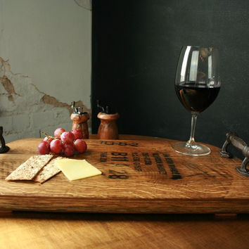 Bourbon + Boots Handmade arrel Wood Serving Tray With Rustic Iron Handles