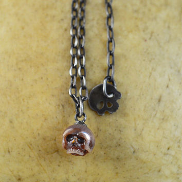 READY TO SHIP - Hand Carved Pink Pearl Skull on Oxidized Sterling Silver Chain with Skull Charm - Adjustable Necklace - Holiday Jewelry