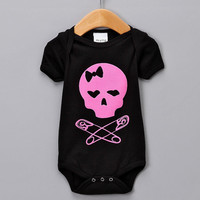 Baby Skulls pink Onesuit by plutokids on Etsy