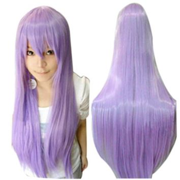 Women Girls 80CM Long Straight Synthetic Fiber Wig with Bangs for Anime Cosplay