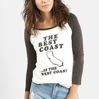 Women's KENDALL + KYLIE at Topshop 'Best Coast' Raglan Sleeve Tee,