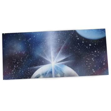 "Infinite Spray Art ""Intergalactic"" Blue Painting Desk Mat"