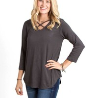 Piko Tops Criss Cross Three Quarter Sleeve Shirt in Dark Grey GLT181043-DKGREY