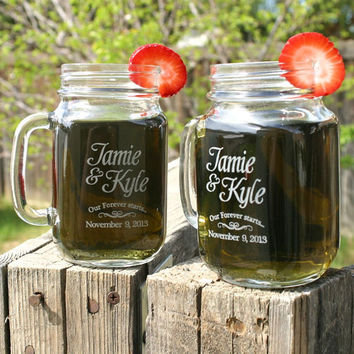 Engagement Gift Glasses 2 Etched Mason Jar Mugs by ScissorMill