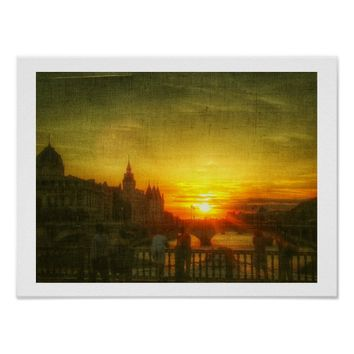 Stylized Paris Sunset Seine Bridge France Poster