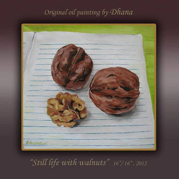 "Still life with walnuts. living Room Wall Decor, Contemporary Art, Canvas Print Rolled. 15.7""/ 15.7""  Realistic Art. Home & Wall decor."