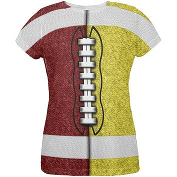 Fantasy Football Team Maroon and Yellow All Over Womens T Shirt