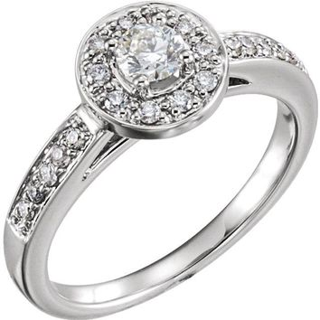14K White Gold 1/2 CTW Diamond Halo Style Complete Engagement Ring