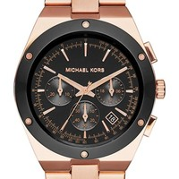 Women's MICHAEL Michael Kors 'Regan' Chronograph Bracelet Watch, 42mm - Rose Gold/ Black