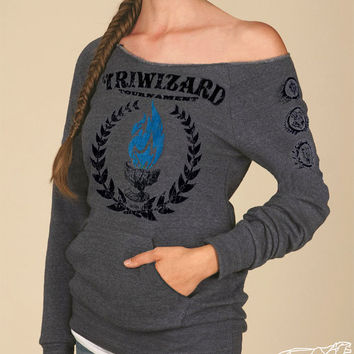 TriWizard Tournament Harry Potter Woman's Maniac SWEATSHIRT SALE 10% Off - Blue Flame of the Goblet of Fire Spits Out Harry Potter's Name