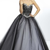 Long Strapless Embroidered Ball Gown