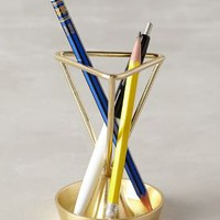 Angled Heirloom Pencil Holder by Anthropologie in Gold Size: One Size House & Home
