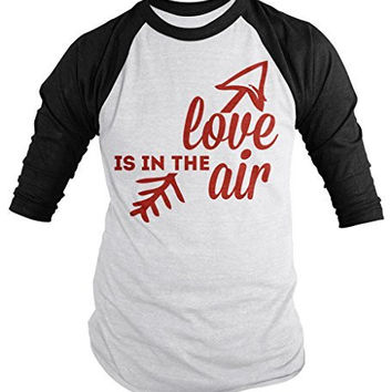 Shirts By Sarah Unisex Valentine's T-Shirt Love In The Air Arrow 3/4 Sleeve Raglan Shirts