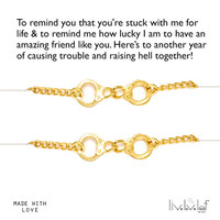 Gold Handcuffs Bracelets for Partners in Crime, Best Friends aka Partner in Crime Handcuff Jewelry Bffs gift set Sisters Mother Daughter