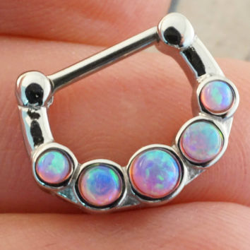 14 Gauge Pink Fire Opal Septum Ring Clicker Bull Ring Nose Piercing