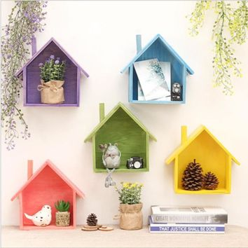 Creative retro wooden house wall shelves Holder Living bedroom wall Decoration Box Hanging Wooden Box Wall Storage Hook 3