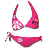 Corona Extra Hibiscus Embroidered Hot Pink Bikini