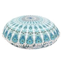 "Armelia Blue Boho Home 32"" Round Floor Pillow"