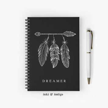 Dreamer - Spiral Notebook With Lined Paper, A5 Writing Journal, Diary, Lined Journal, Dream Journal, Black And White, Feathers