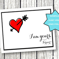 Valentines Day Card for spouse boyfriend girlfriend wife significant other printable heart black and red foldable printable download