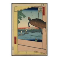 Japan Mannen Bridge Fukagawa Vintage Art Poster
