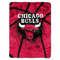Chicago Bulls NBA Royal Plush Raschel Blanket (Shadow Series) (60x80)