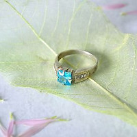 Silver handmade ring blue stone bright beautiful jewelry designer's accessories