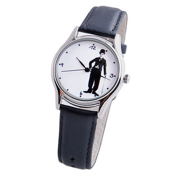 Charlie Chaplin Wrist Watch, Unisex Watch, Leather Wristwatch, Boyfriend Gift, Gift for Men, Ladies Gift Idea, Gift for Her - Free Shipping
