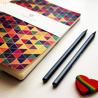140 Colorful triangles sketchbook, geometric circles pocket notebook, 80 ivory pages journal, gift for artist