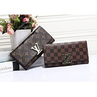 Louis Vuitton LV Popular Men Women  Stripe Letter Leather Fold Purse Wallet Dark Coffee