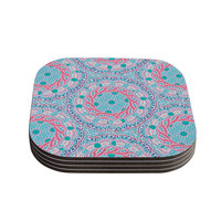 "Miranda Mol ""Prismatic White"" Blue Pink Abstract Coasters (Set of 4)"